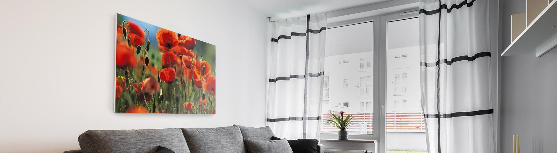 Abbildung individuelle Forexplatte im Wohnzimmer